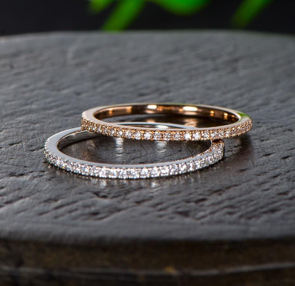 10k White or Rose Gold Moissanite Half Eternity Rings 0.1ct - Moissanite Engagement Rings & Jewelry | Luxus Moissanite