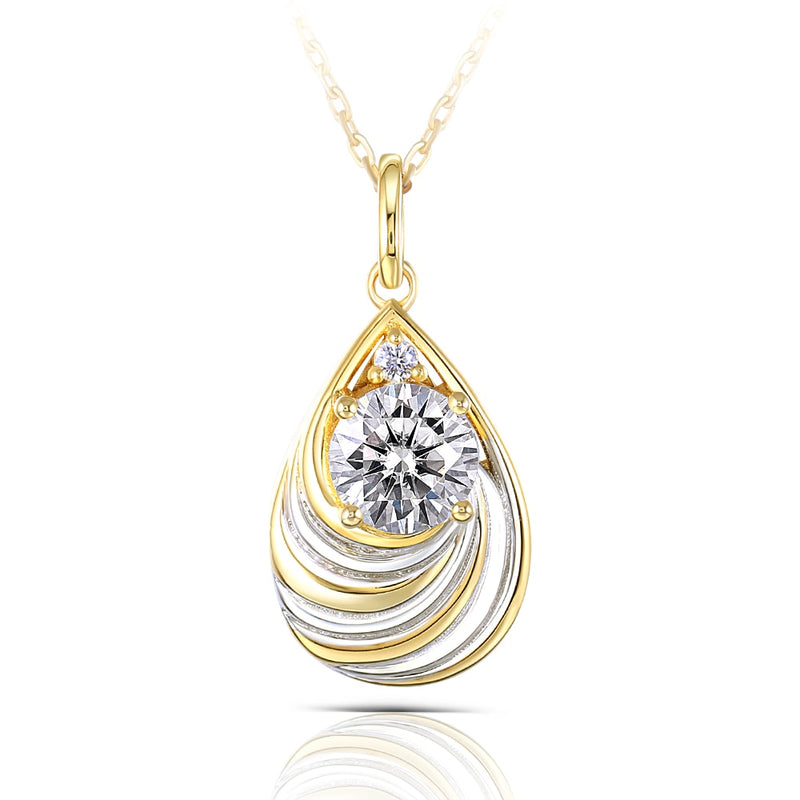 Yellow & Silver Platinum Plated Silver Moissanite Necklace 1.035 Carat Total
