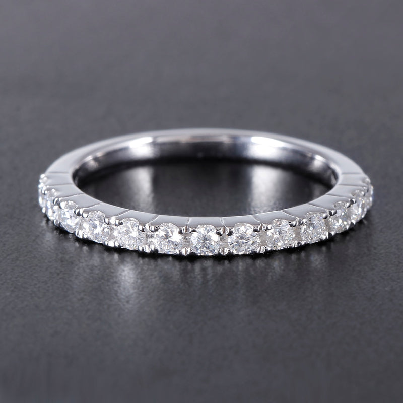 Platinum Plated Silver Moissanite Anniversary Band 0.4ct Total