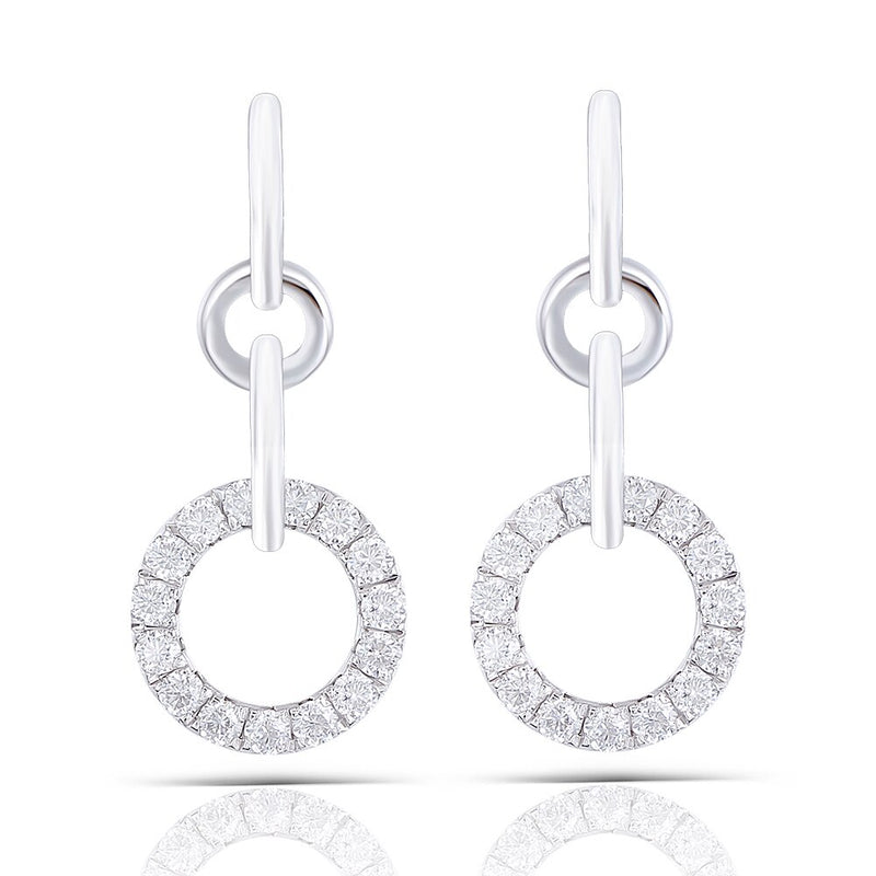 Platinum Plated Silver Drop / Dangle Moissanite Earrings 1ctw