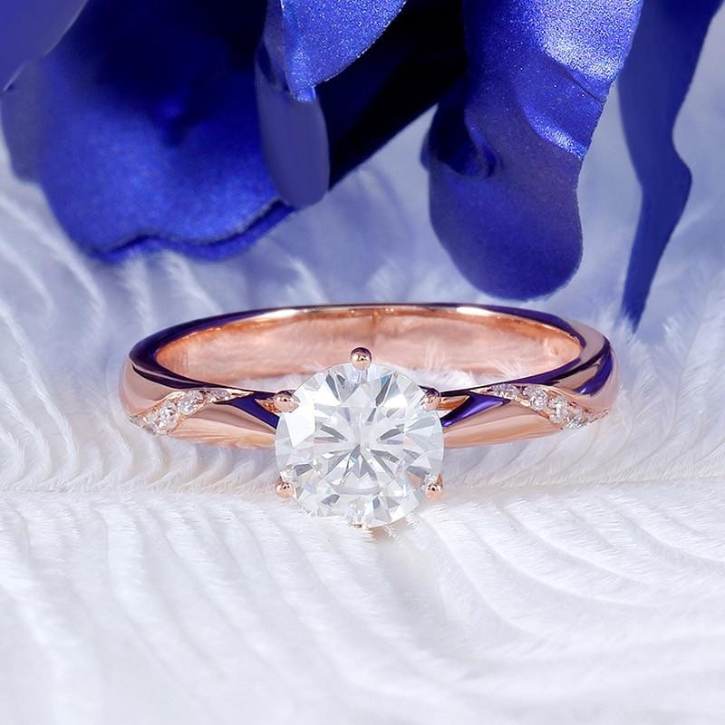 14k Rose Gold Moissanite Ring 1ct Center Stone