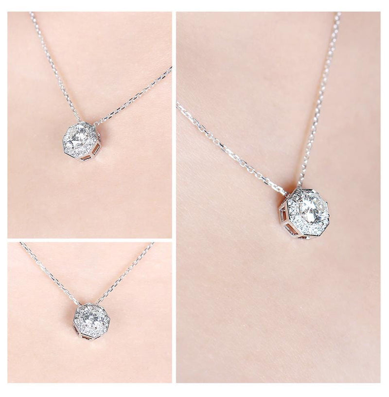 14k White Gold Octagon Cut Moissanite Necklace 1ct Center Stone - Moissanite Engagement Rings & Jewelry | Luxus Moissanite