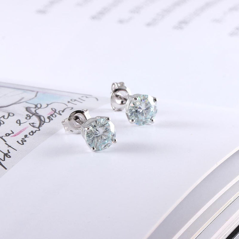 10k White Gold & Silver Stud Slight Blue Moissanite Earrings 2ct Total - Moissanite Engagement Rings & Jewelry | Luxus Moissanite