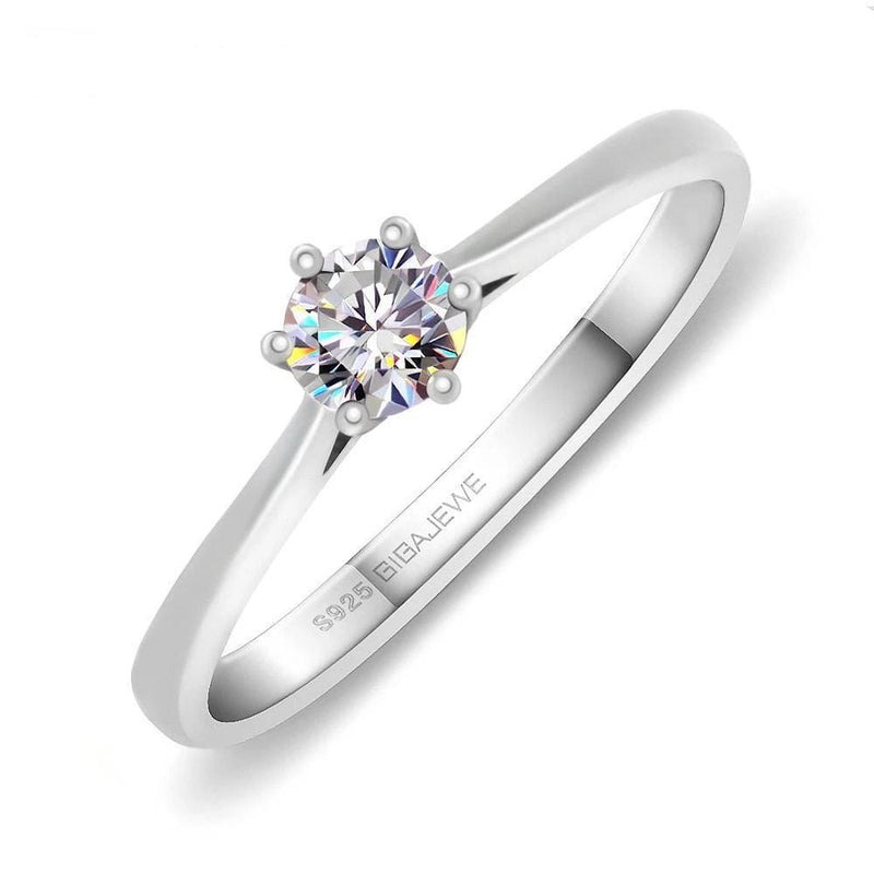 Solitaire Moissanite Engagement Ring, Silver Band .3 Carat - Luxus Moissanite Engagement Rings