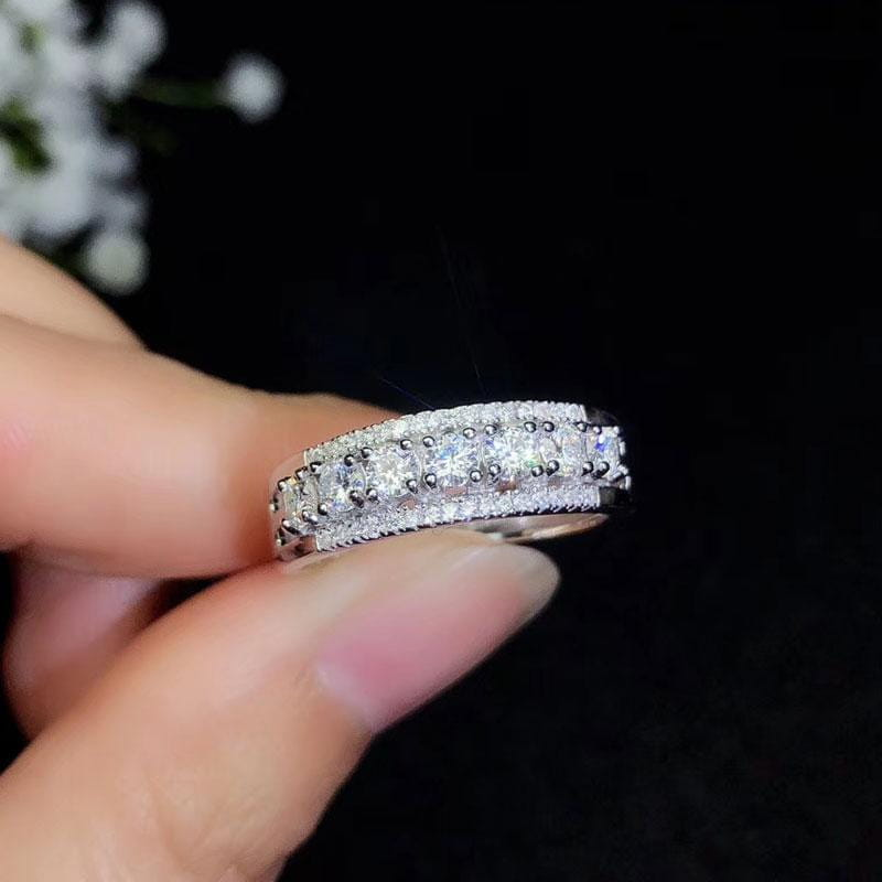 Moissanite Colorless 7 Stone Anniversary Band .11 CT each (.77 CT Total) - Luxus Moissanite Rings & Jewelry