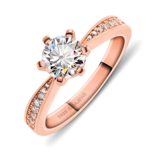 Rose Gold Silver Moissanite Engagement Ring 1 Carat Center Stone - Luxus Moissanite Engagement Rings
