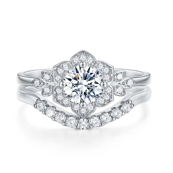 Platinum Plated Silver Moissanite Bridal Set 1ct Total - Moissanite Engagement Rings & Jewelry | Luxus Moissanite