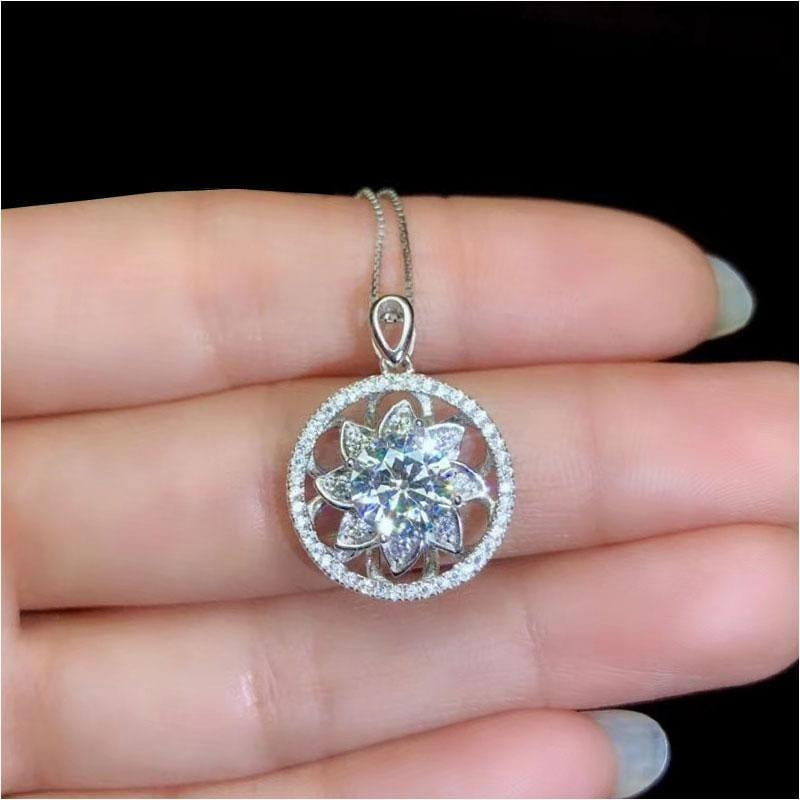 White Gold Plated 925 Silver Moissanite Halo Necklace 1.5ct Center Stone - Moissanite Engagement Rings & Jewelry | Luxus Moissanite