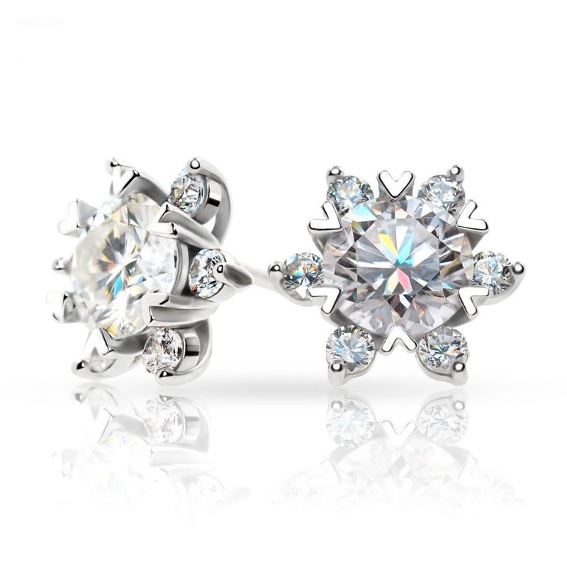 White Gold Plated Silver Halo Moissanite Earrings 1.68ctw (multiple moissanite color options)