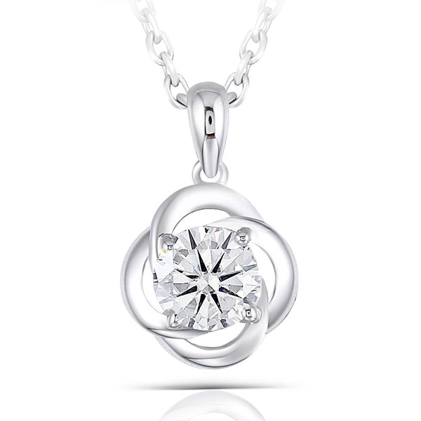 Moissanite Necklace Platinum Plated Silver 0.6 Carat