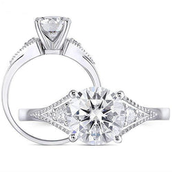 14k White Gold Moissanite Ring 1.5ct Center Stone