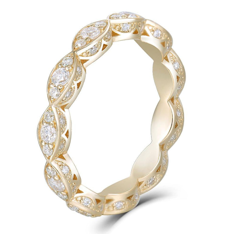 14k Yellow Gold Moissanite Eternity Ring / Wedding Band