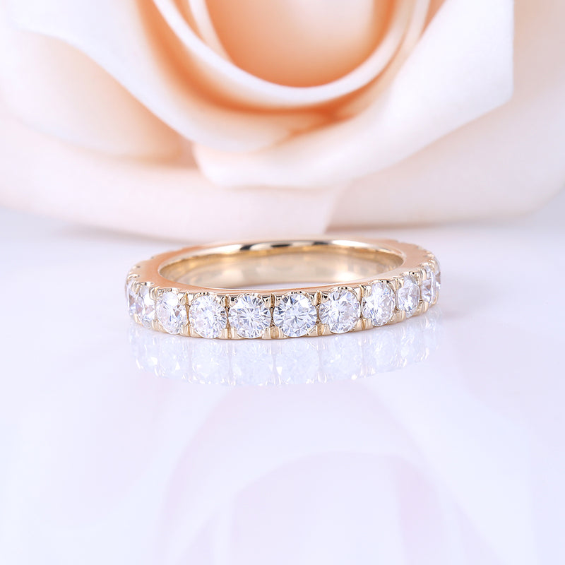 18k / 14k Yellow Gold Moissanite Eternity Band 2ct Total