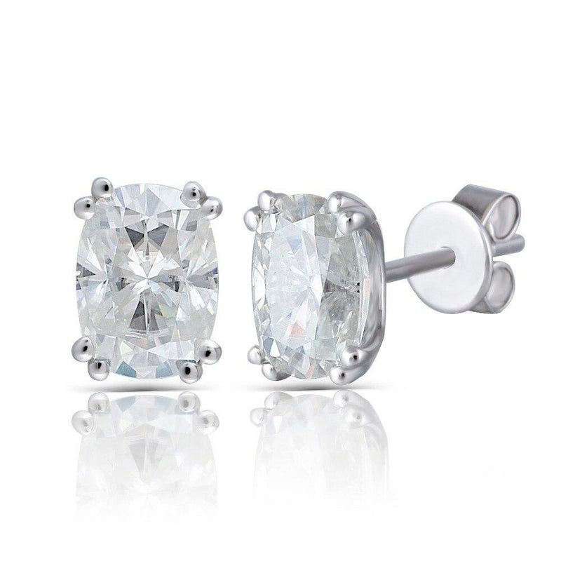 14k White Gold Oval Cut Moissanite Earrings 2ctw
