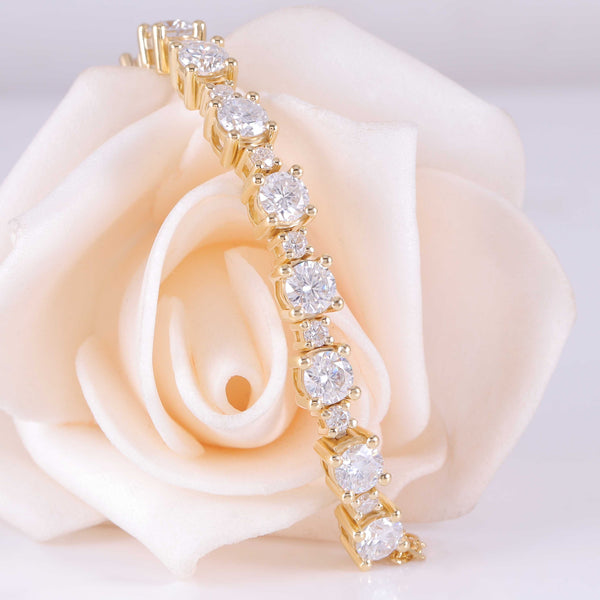 18k Yellow Gold Tennis Moissanite Bracelet 2.8ctw