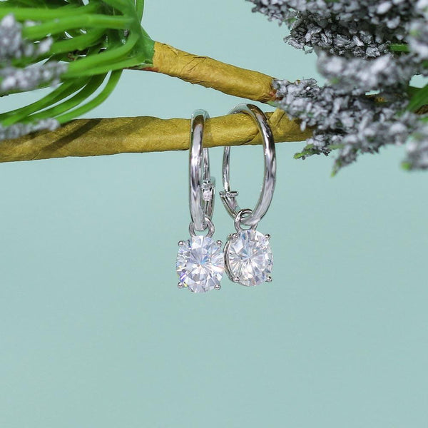 14k White Gold Hoop Moissanite Oval Cut Earrings 2ct Total - Moissanite Engagement Rings & Jewelry | Luxus Moissanite