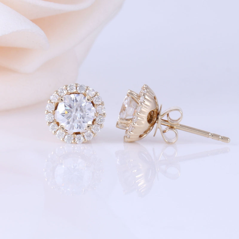 14k Yellow Gold Halo Moissanite Stud Earrings 1.28ct Total - Moissanite Engagement Rings & Jewelry | Luxus Moissanite