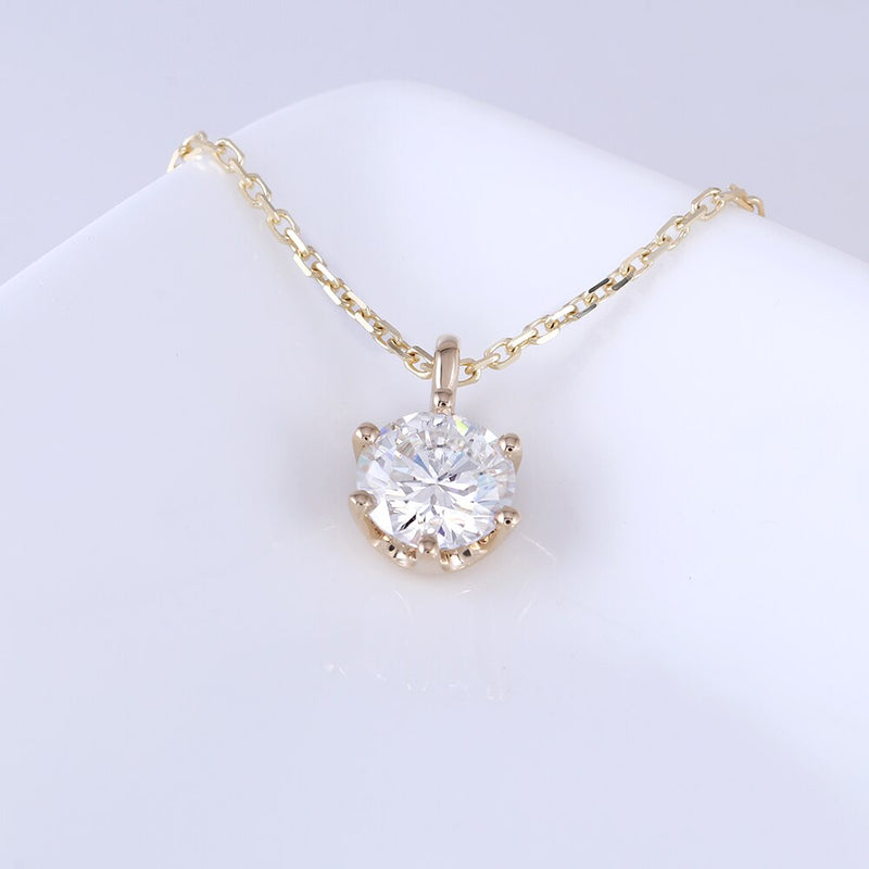 14k Yellow Gold Moissanite Necklace 1ct