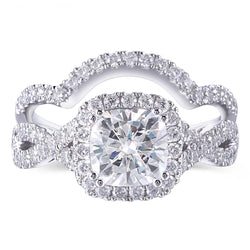Platinum Plated Silver Moissanite 2 Piece Bridal Set 2.8ct Total