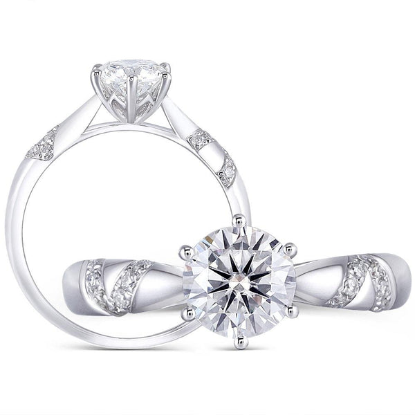 Solitaire Moissanite Engagement Ring Platinum Plated Silver 1 Carat Center Stone