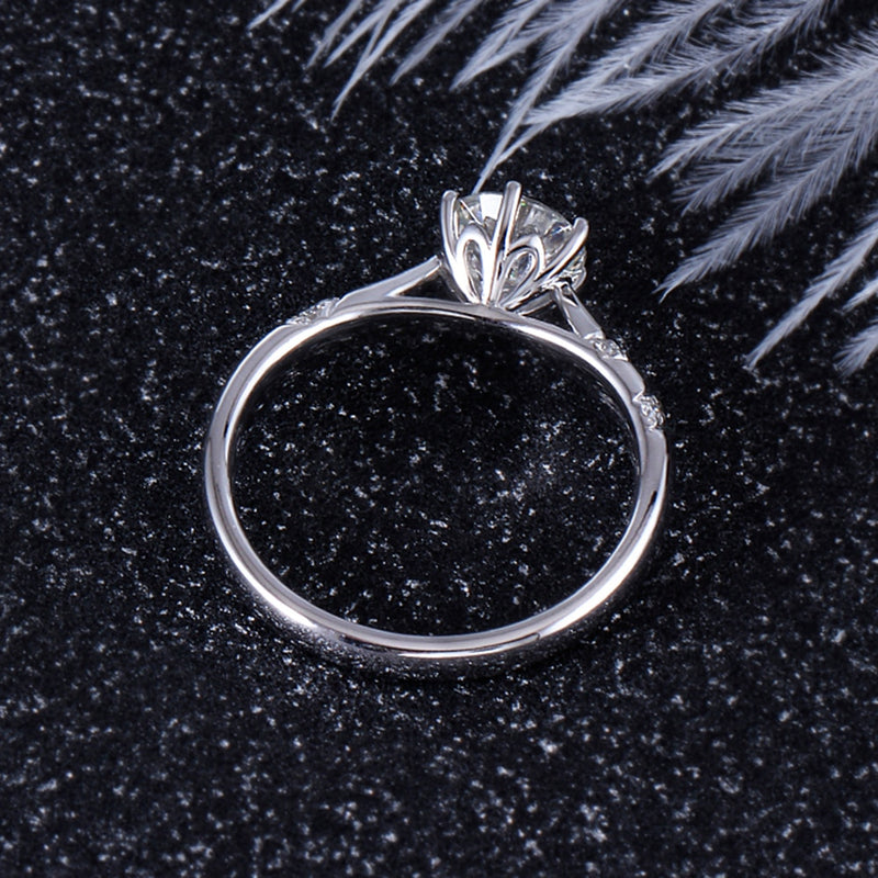 Platinum Plated Silver Solitaire Moissanite Ring 1ct