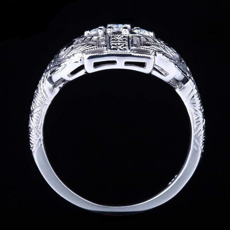White Gold Plated Silver 3 Stone Moissanite Ring 0.12ct Total - Moissanite Engagement Rings & Jewelry | Luxus Moissanite
