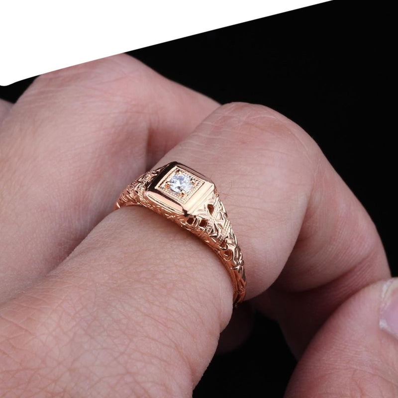 10k Rose Gold Vintage / Unique Moissanite Ring 0.1ct - Moissanite Engagement Rings & Jewelry | Luxus Moissanite