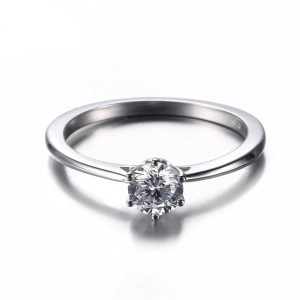 10k White Gold Solitiare Moissanite Engagement Ring .5 Carat - Luxus Moissanite Rings & Jewelry