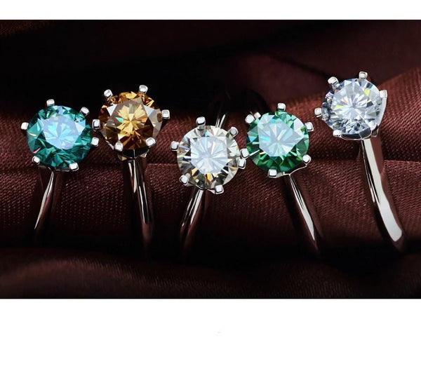 Solitaire Moissanite Engagement Ring 1 Carat Stone In Multiple Color Options - Luxus Moissanite Engagement Rings