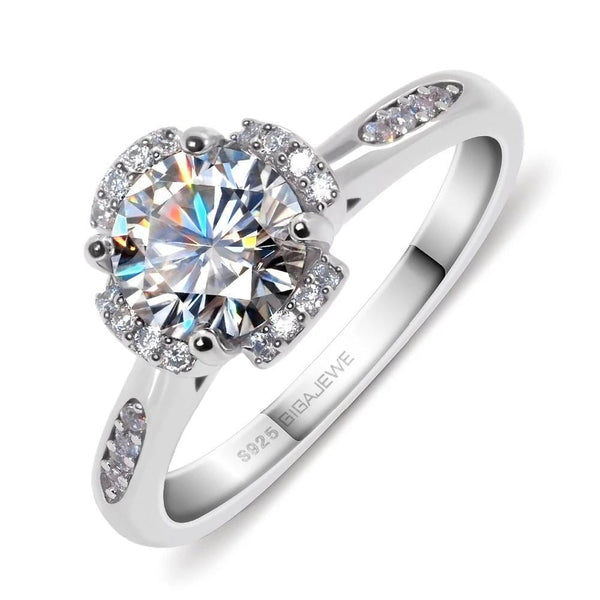 Moissanite Halo Engagement Ring 1.2 Carat - Luxus Moissanite Engagement Rings