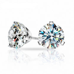 White Gold Plated Silver Stud Earrings 3ctw (multiple moissanite colors)