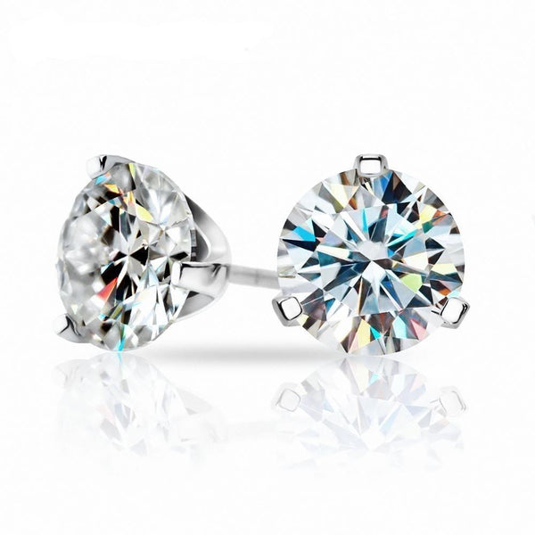 White Gold Plated Silver Stud Earrings 3ctw (multiple moissanite colors) - Moissanite Engagement Rings & Jewelry | Luxus Moissanite