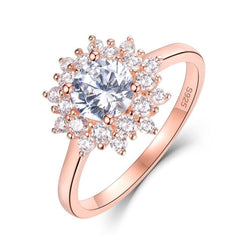 Platinum Plated Silver / Rose Gold Halo Moissanite Ring 0.7ct - Moissanite Engagement Rings & Jewelry | Luxus Moissanite
