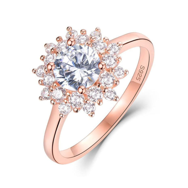 Halo / Vintage Moissanite Ring, Silver & Rose Gold Options, 1 Carat Total - Luxus Moissanite Engagement Rings