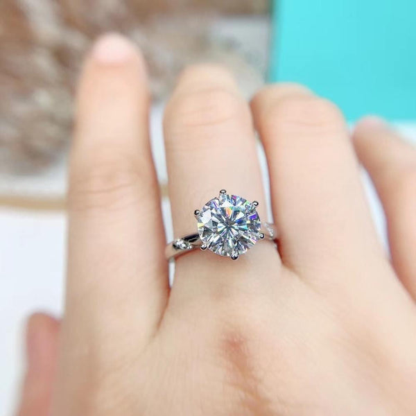 Solitaire Silver Moissanite Engagement Ring 1, 1.5, & 2 Carat Options - Luxus Moissanite Engagement Rings