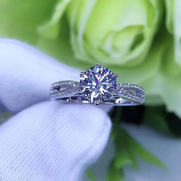Moissanite Engagement Ring, Solitaire Dual Silver Band 1 Carat Center Stone - Luxus Moissanite Engagement Rings