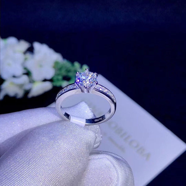 Platinum Plated Silver Moissanite Ring 0.8ct or 1ct - Moissanite Engagement Rings & Jewelry | Luxus Moissanite