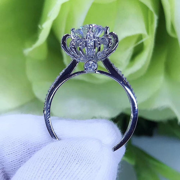 Platinum Plated Silver Vintage Moissanite Ring 0.8ct or 1ct - Moissanite Engagement Rings & Jewelry | Luxus Moissanite