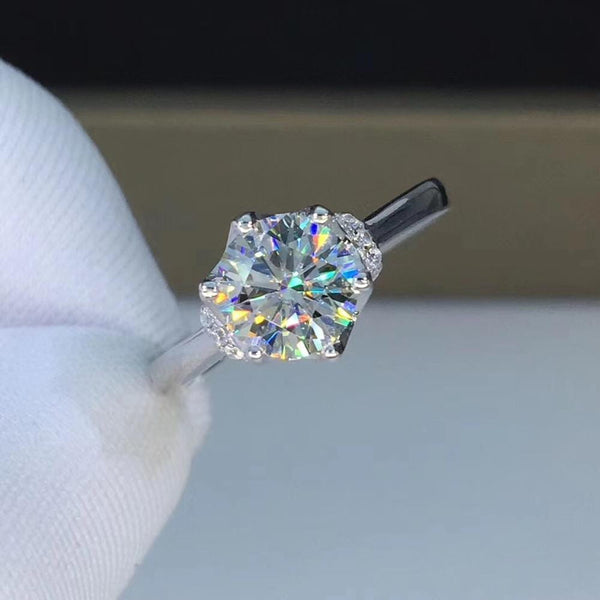 Halo / Vintage Moissanite Enagegement Ring .5 & 1 Carat Options - Luxus Moissanite Engagement Rings