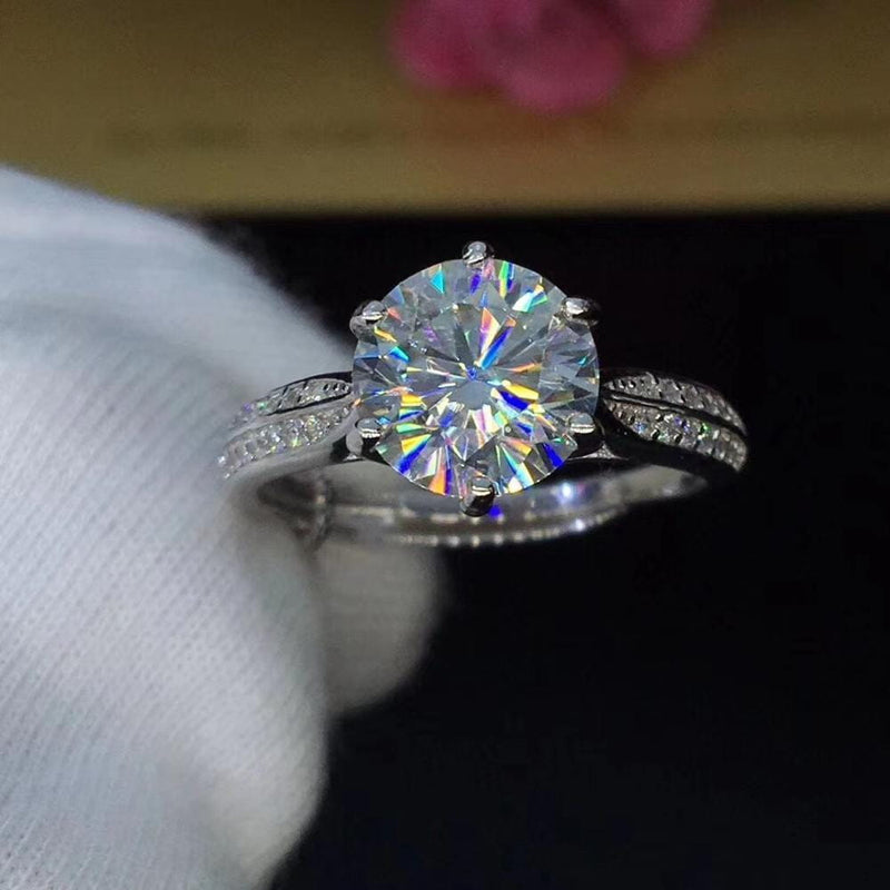 Platinum Plated Silver Moissanite Ring 0.8ct, 1ct, 2ct Options - Moissanite Engagement Rings & Jewelry | Luxus Moissanite