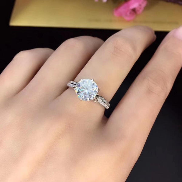 Moissanite Engagement Ring .8, 1, & 2 Carat Options Solitiaire Silver - Luxus Moissanite Engagement Rings
