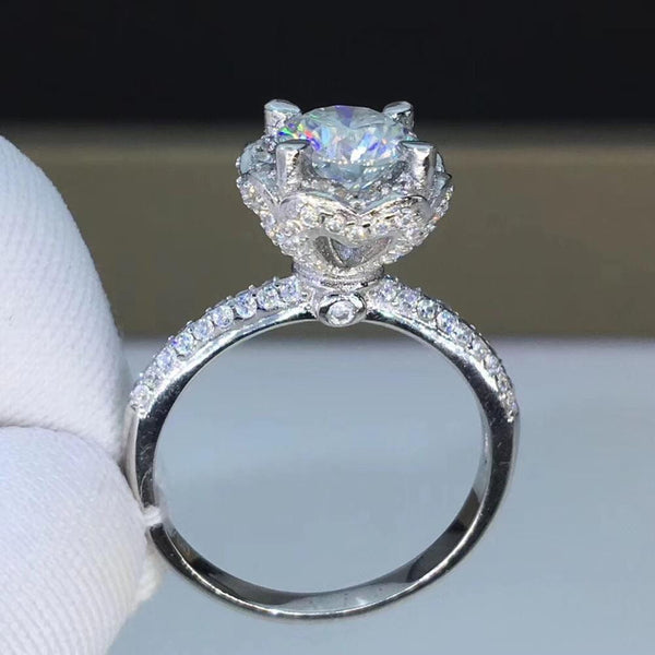 Halo Moissanite Engagement Ring With Side Stones 1 Carat Center Stone - Luxus Moissanite Engagement Rings