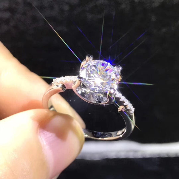 Moissanite Engagement Ring, .5, 1, & 2 Carat Options - Luxus Moissanite Engagement Rings