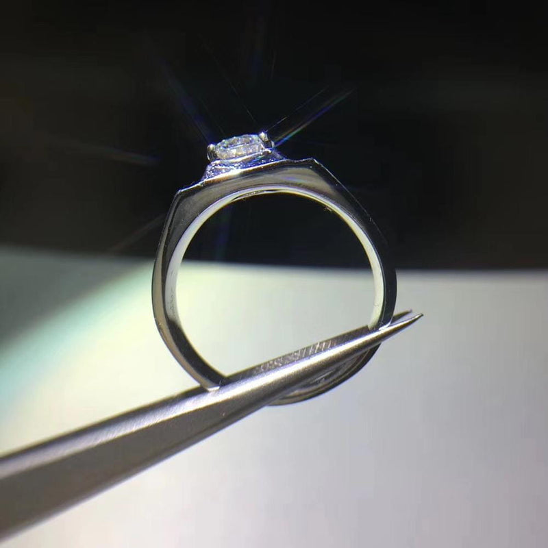 Thick Band / Wide Band Silver Moissanite Ring .8 Carat - Luxus Moissanite Engagement Rings