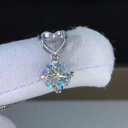 Silver Heart Moissanite Necklace / Pendant 1ct