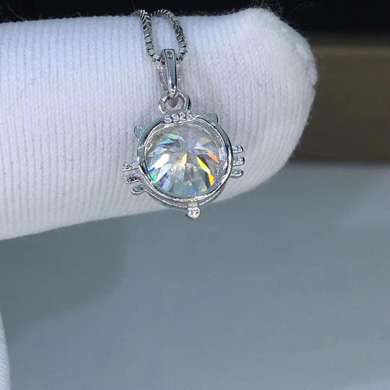 Silver Cat Face Moissanite Necklace / Pendant 1ct & 2ct Options