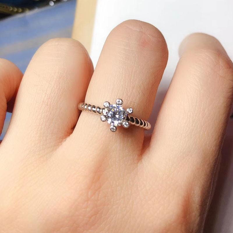 Platinum Plated Silver Moissanite Ring 1ct - Moissanite Engagement Rings & Jewelry | Luxus Moissanite