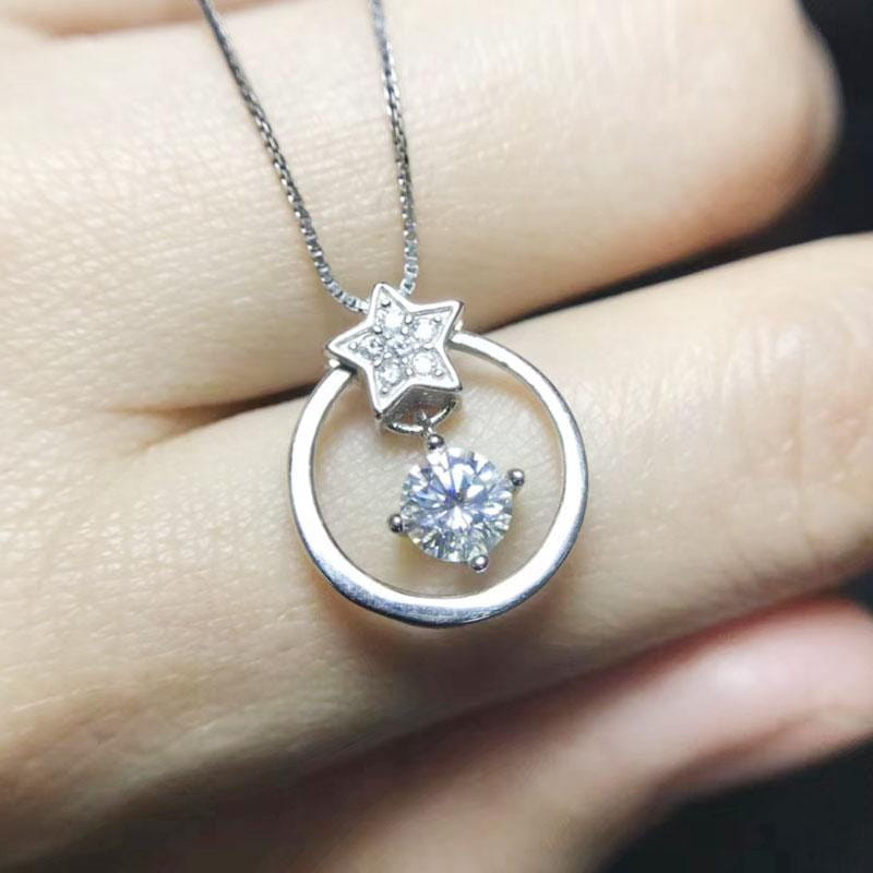White Gold Plated Silver Moissanite Necklace 0.5ct Center Stone - Moissanite Engagement Rings & Jewelry | Luxus Moissanite