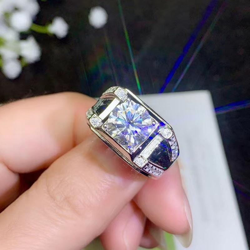 Wide Band Silver Moissanite Ring 0.5, 1 & 2 Carat Options - Luxus Moissanite Rings & Jewelry