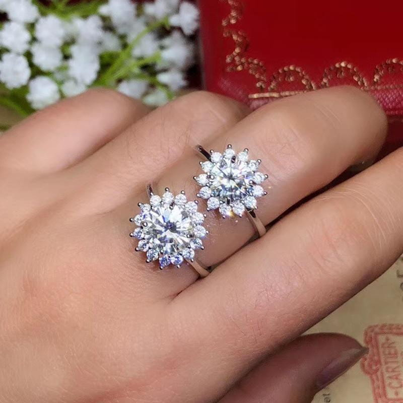 Platinum Plated Silver Halo Moissanite Ring 1ct - 3ct Options - Moissanite Engagement Rings & Jewelry | Luxus Moissanite